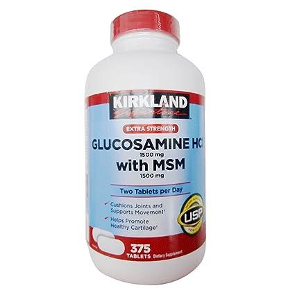 Kirkland Signature - Pastillas de glucosamina (HCI 1500 mg, MSM 1500 mg, 375