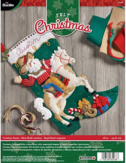 Bucilla 18-inch Christmas Stocking Felt Applique Kit 86451 Holiday Drive