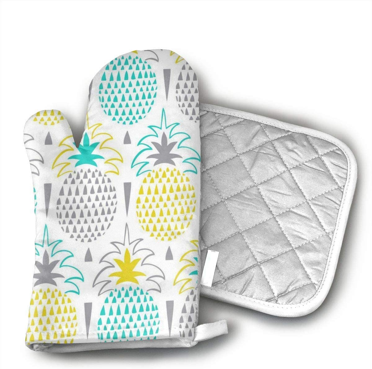 Sjiwqoj8 Pretty Pineapple Kitchen Oven Mitts,Oven Mitts and Pot Holders,Heat Resistant with Quilted Cotton Lining,Cooking,Baking,Grilling,Barbecue