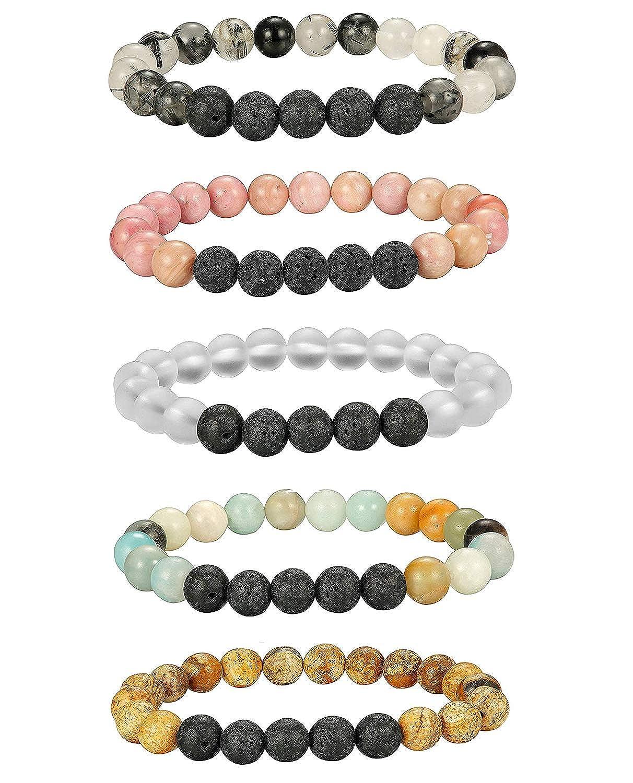 Besteel 5-10 Pcs Aromatherapy Oil Diffuser Bracelets for Women Lava Stone Bead Bracelet Set 8MM