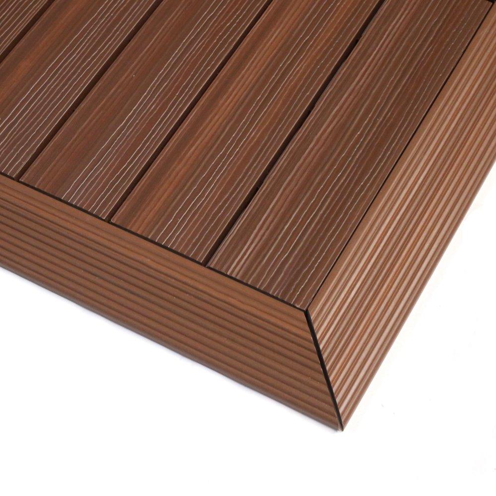 NewTechWood QD-OF-IP QuickDeck Composite Deck Tile Outside Corner Trim, 2-Inch x 1-Feet, Brazilian Ipe, 2-Piece