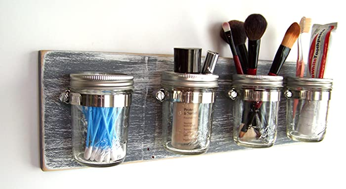 Farmhouse Bathroom Storage By Out Back Craft Shack: Mason Jar Toothbrush  Holder In Rustic Gray