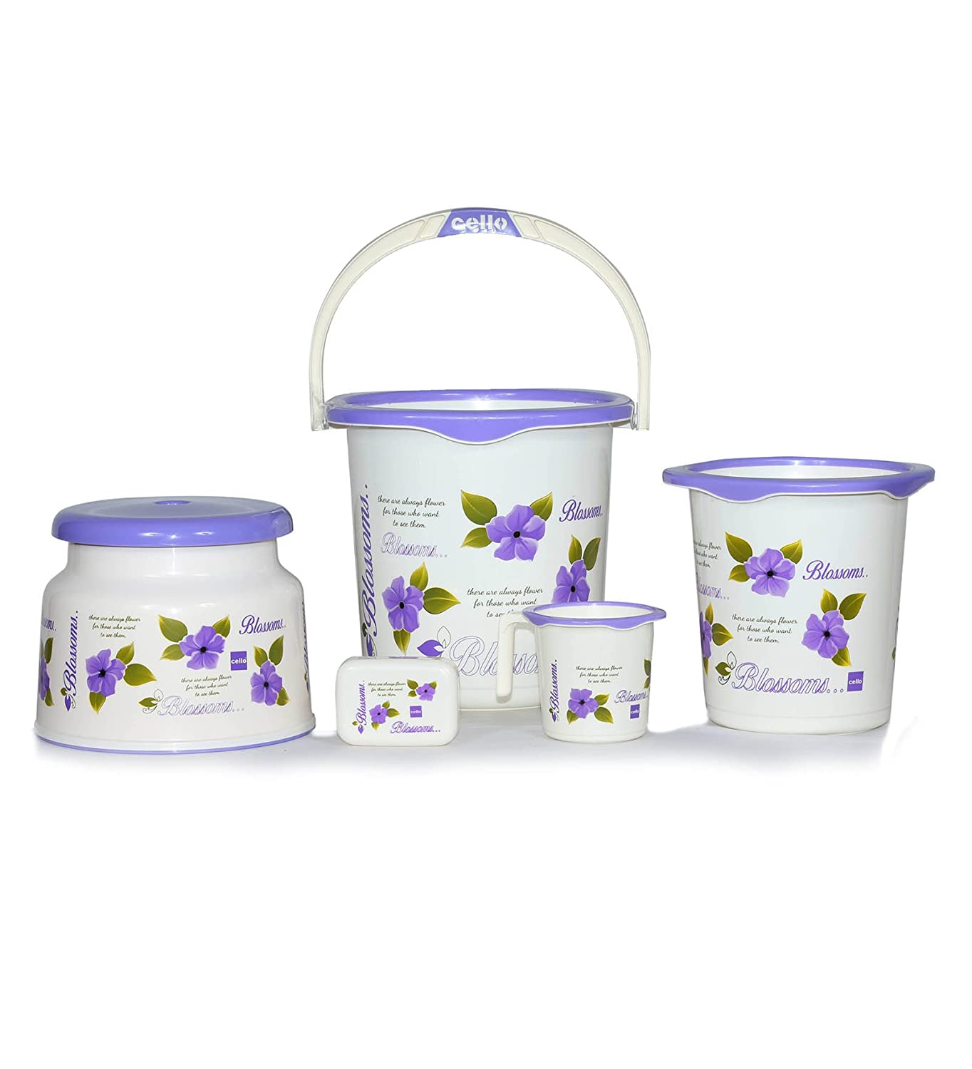 Cello Blossom 5 Piece Plastic Bath Set, Small, Purple