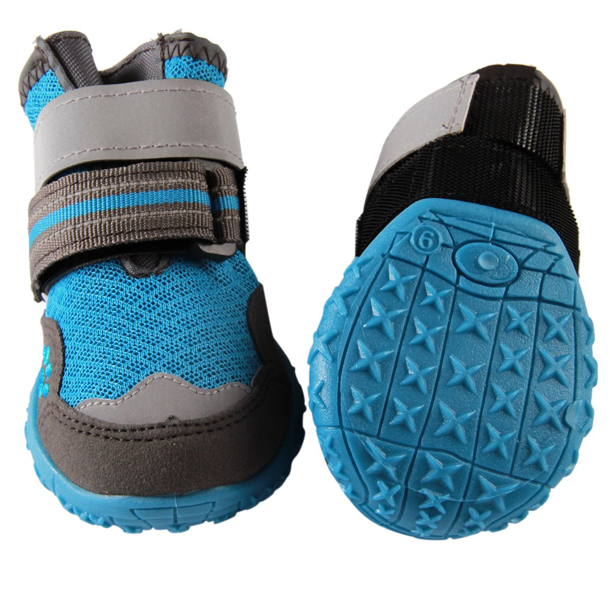vecomfy Breathable Mesh Dog Shoes for Small Dogs(4 Boots),Summer Hot Pavement Protect Paws Dog Boots,Waterproof Non-Slip (Blue,Size 4) by vecomfy