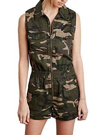 f192e037aed1 Amazon.com: HaoDuoYi Womens Camouflage Military Sleeveless Tunic Zipper Romper  Jumpsuit: Clothing