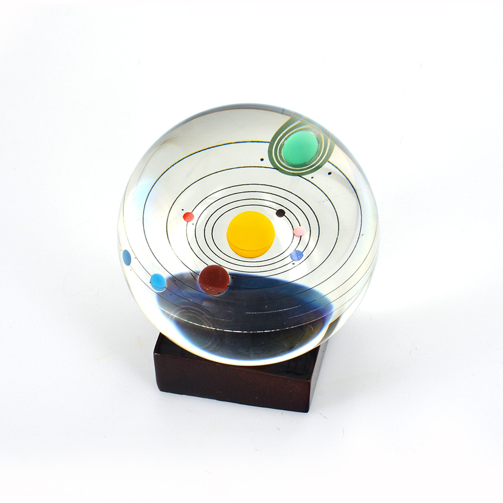 Toyofmine Solar System Clear Crystal Ball 80mm with Wood Stand by toyofmine