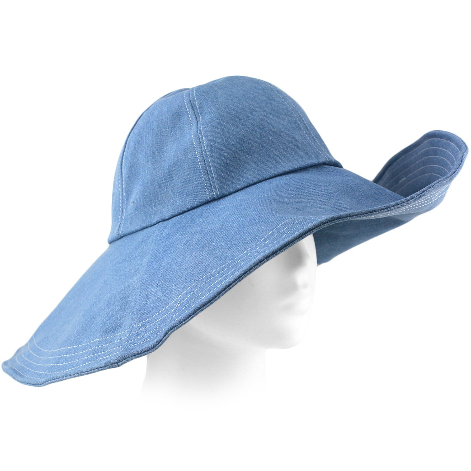 d2fb3143618bd Packable Summer Beach Sun Hat - Flexible Wide Wire Brim - Strap Included -  Washed Blue at Amazon Women s Clothing store