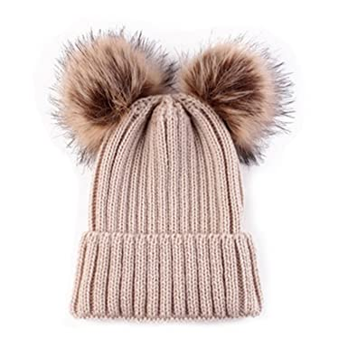 b5f8c890 HMILYDYK Fashion Womens Winter Knitted Beanie Hat Stylish Double Faux Fur  Pom Pom Bobble Crochet Ski Cap for Girls Ladies: Amazon.co.uk: Clothing