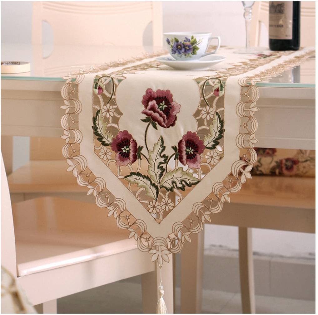 AOYOMO Embroider Floral Table Runner Teapoy Cover Dresser Scarves Wedding Decorations Red 3045cm