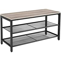 VASAGLE Shoe Bench, Shoe Rack with 2 Mesh Shelves, Shoe Storage Organizer for Entryway Hall, Metal, Industrial, Greige and Black ULBS074B02