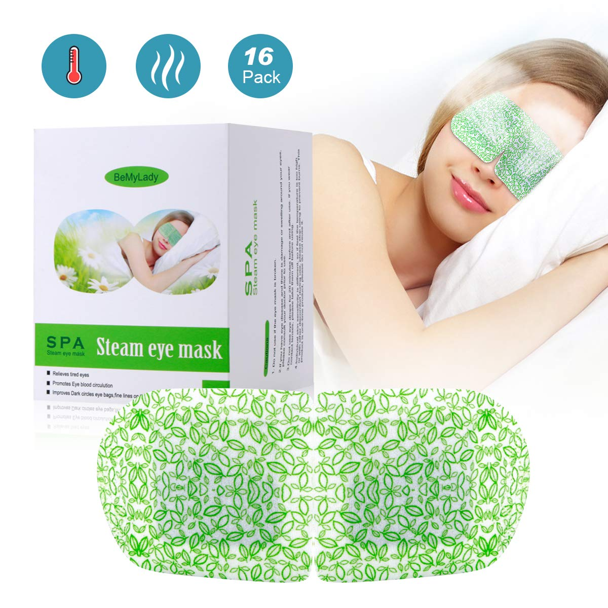 Steam Eye Mask for Dry Eye-Auto Heat Hompress Pad Last for 30 Minters for Relief Eye Fatigue, Improve Blurred Vision,Dark Circles Eye Bags, 16 Pack