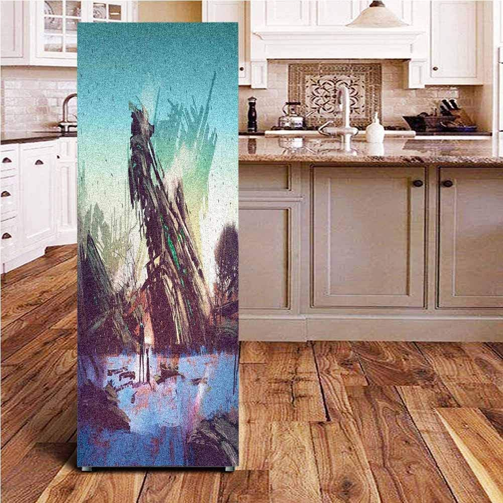 Angel-LJH Fantasy World 3D Door Fridge DIY Stickers,Man and Dog Looking at Crashed Spaceship Imagination Futuristic Illustration Door Cover Refrigerator Stickers for Home Gift Souvenir,24x70