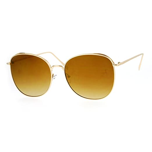 a6bd5d43bda SA106 Womens Color Mirrored Minimal Thin Metal Large Butterfly Sunglasses  All Gold