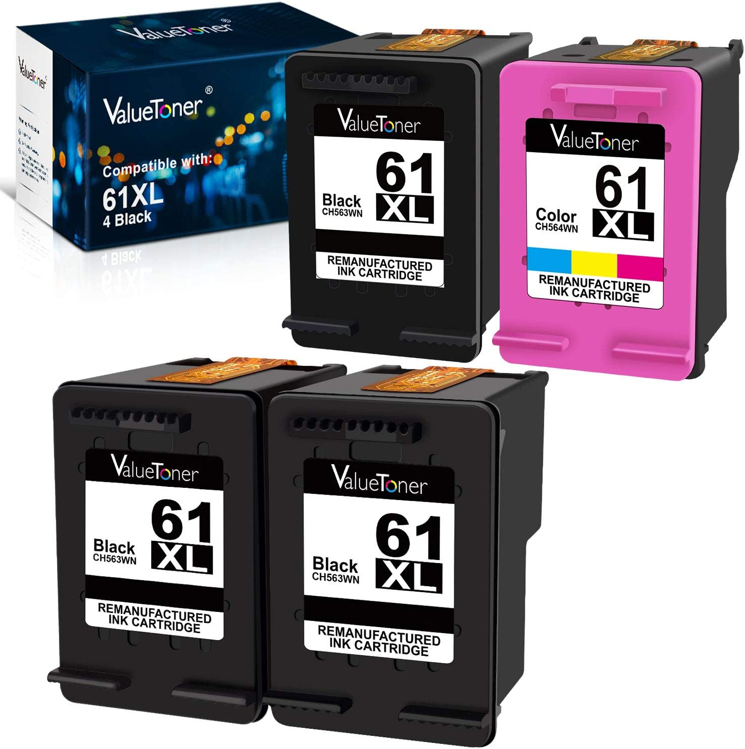 Valuetoner Remanufactured Ink Cartridges Replacement for HP 61XL 2 Pack (1 Black, 1 Tri-Color) Bundled with 2 Black