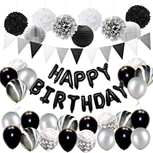 Black and Silver Birthday Party Decorations for Adults Balloons Set , Tissue Paper Decorations and Triangle Flag Banner