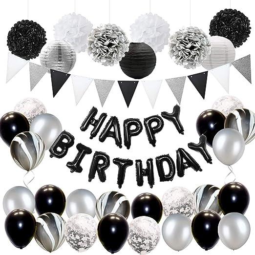 Decoraciones de fiesta de cumpleaños negras y plateadas para ...