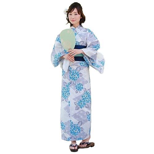 浴衣レディースセット白地に水色紫陽花と麻の葉ときめき恋浴衣3点セット白
