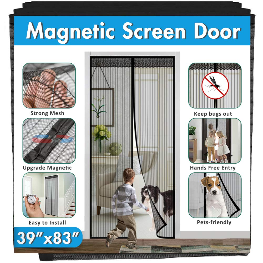 "Magnetic Screen Door, IKSTAR Upgrade Mesh Door Instant Closure with Full Frame Hook&Loop, Keep Fly/Bugs Out, Pet/Kids Walk Through Freely Fit Door Up to 36""x82"" Max"