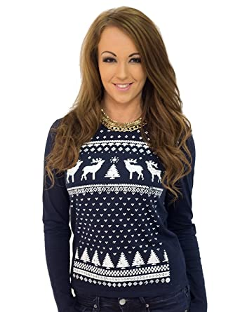 746b9657d8f Jolly Clothing Women s Reindeer Christmas Jumper Style Long Sleeved T-Shirt  - Navy (Small
