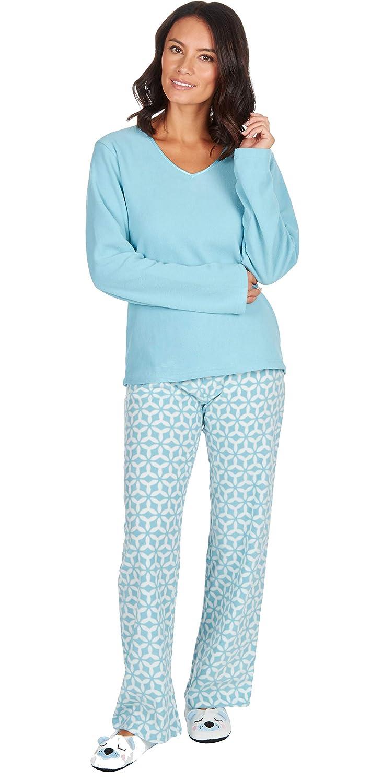 934a1eb731 INSIGNIA Ladies 3 PCE Fleece Pyjamas Sets Loungewear with Slippers   Amazon.co.uk  Clothing