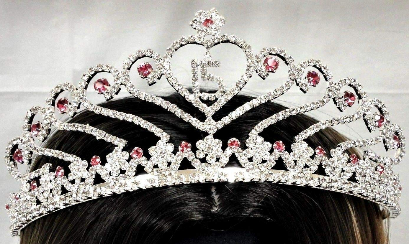 1pcs Sweet 15 Quince Tiara Blue Rhinestone Crown with Charm Pink Party Supplies