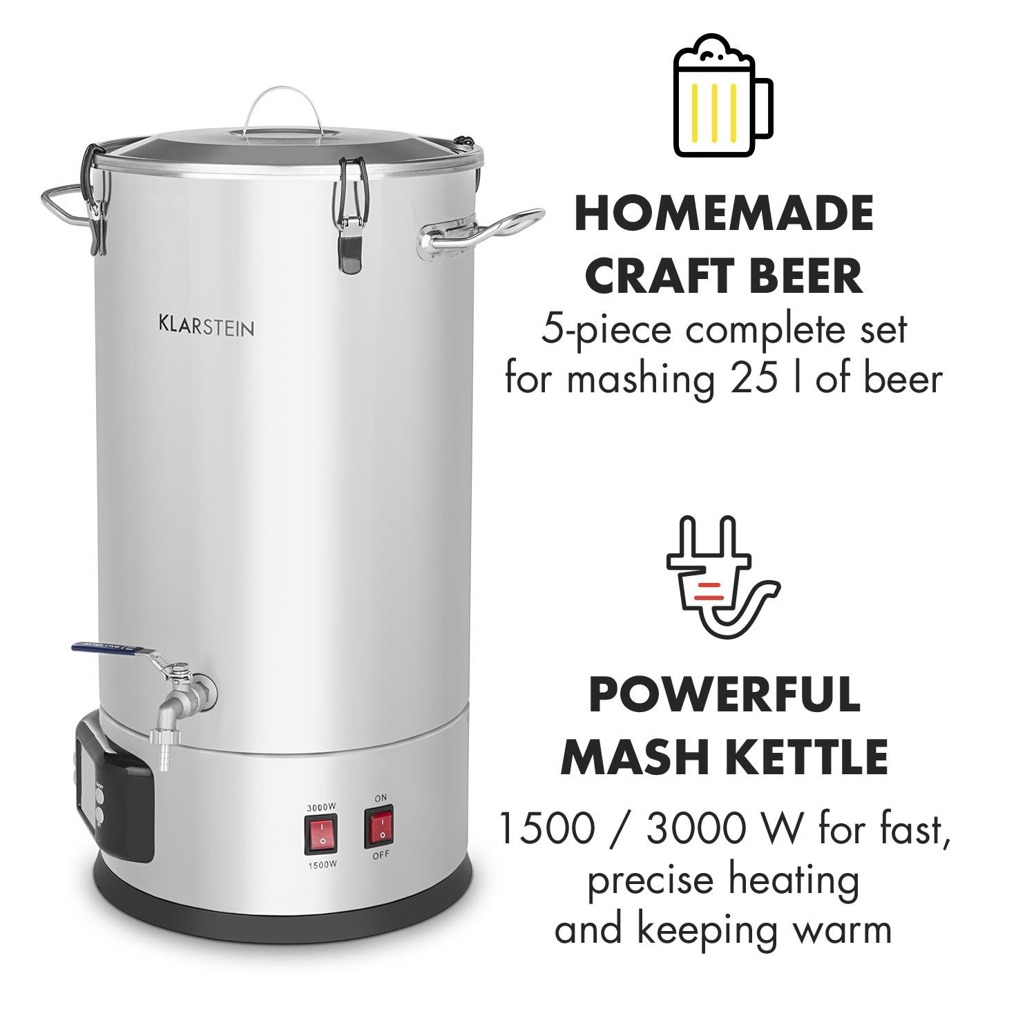 Klarstein Maischfest • Beer Brewing Device • Mash Tun • 5-Piece Set • 1500 and 3000 Watts Power • 25-litre Capacity • LCD Display and Touch Control Panel • Temperature • Stainless Steel by KLARSTEIN (Image #2)