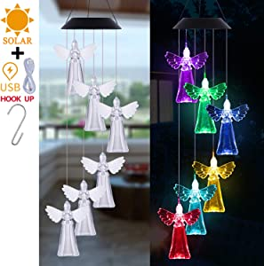 LED Solar Angel Wind Chimes Outdoor Decor- Lucky Angel Wind Chime Light, Changing Color Angel Solar Lights Xmas Gifts for Mom, Home, Patio,Yard,Festival,Garden Decoration(Solar Powered & USB Charging)