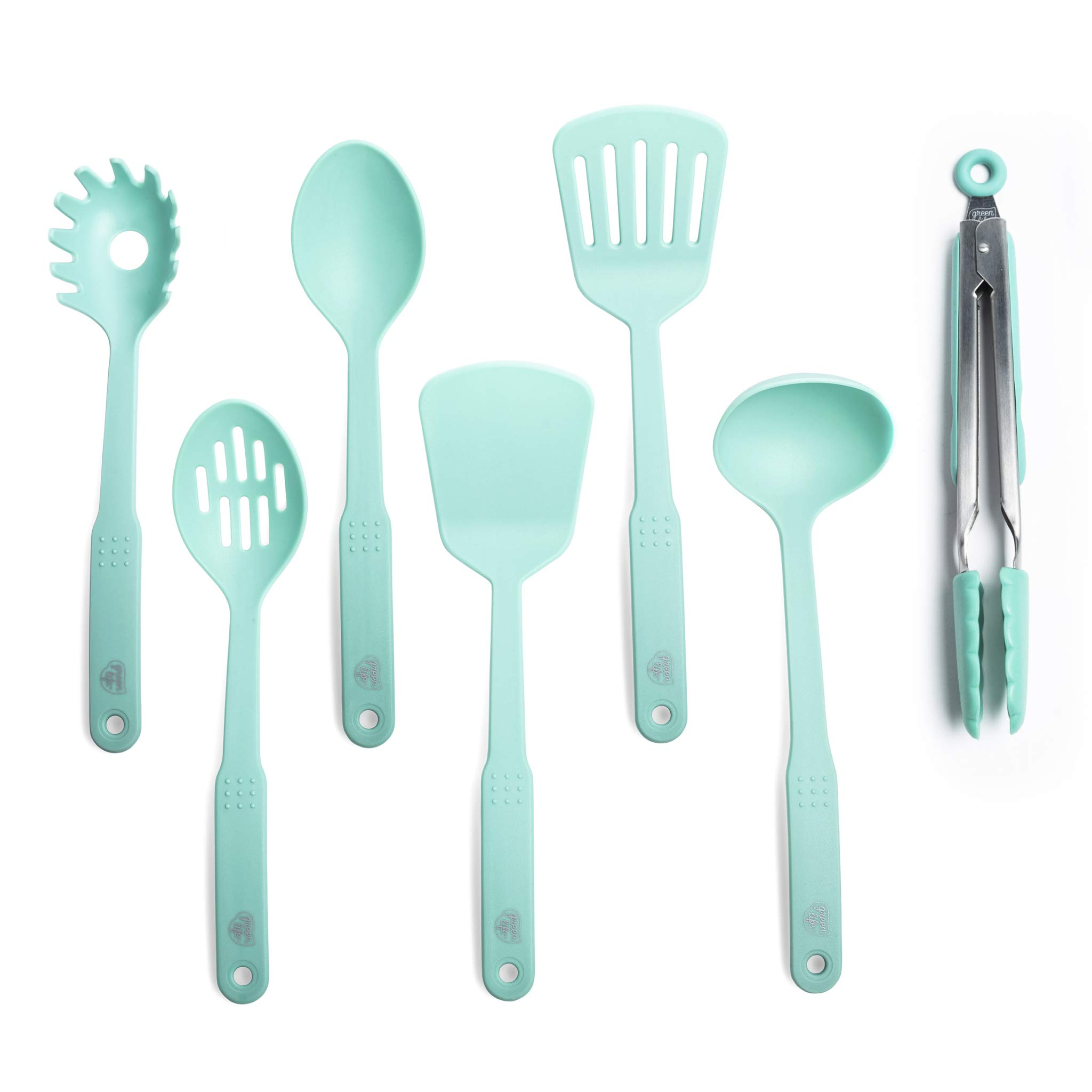GreenLife CC001729-001 Nylon Cooking Set, 7-Piece, Turquoise, 7pc Utensil, Turqouise by GreenLife