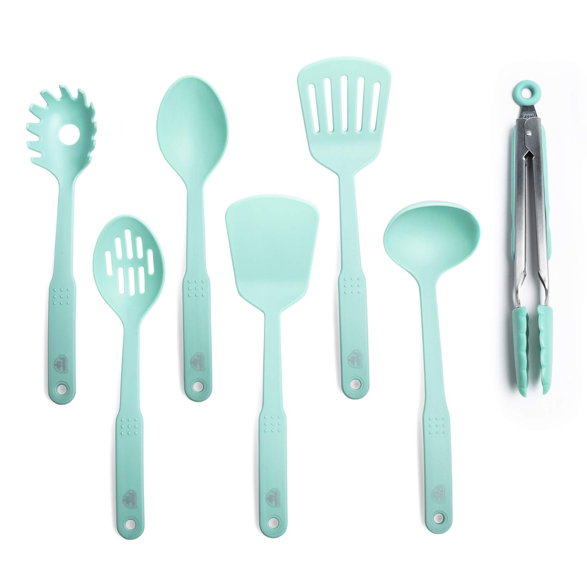 GreenLife CC001729-001 Nylon Cooking Set, 7-Piece, Turquoise, 7pc Utensil, Turqouise