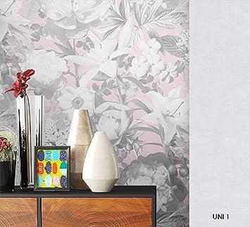 Newroom Blumentapete Tapete Grau Blumen Blatter Floral Vliestapete Pink Vlies Moderne Design Optik Modern Inkl