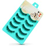 False Eyelashes, PrettyMakeUp 5 Pairs Black Long Thick Soft Flase Eye Lashes Reusable for Makeup Cosmetic Fake Eyelashes