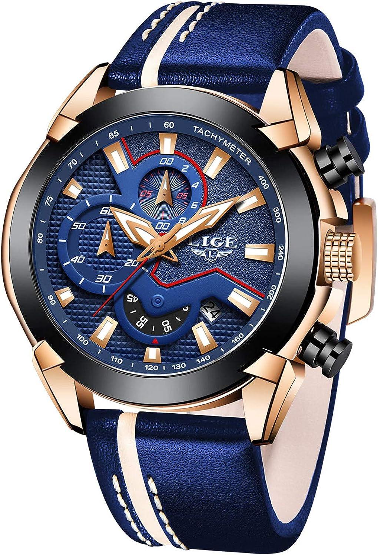 LIGE Relojes para Hombre Deportes Militar Reloj de Cuarzo analógico Hombres Moda Azul Cronógrafo Impermeable Gran Esfera de Cuero Reloj de Pulsera