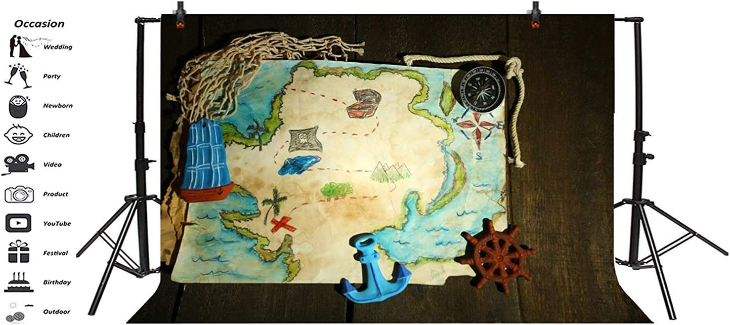 10x7ft Colorful Freehand Sketching Treasure Map Vinyl Photography Background Treasure Hunt Route Compass Anchor Sailboat Rudder On Retro Wood Plank Backdrop Child Adult Portrait Wallpaper