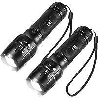 LE LED Tactische zaklamp, 2 stuks, hoog lumen, Zoomable, 5 modi, waterbestendig, handheld licht voor camping, buiten…