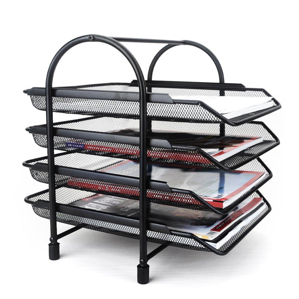 Aibecy 4-Tier File Document Letter Paper Tray Sorter Collection Office Desktop Organizer Holder Shelf Metal Mesh Black
