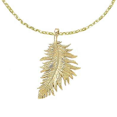 Dower & Hall Feather Large Pendant on 46cm Trace Chain eUdJN