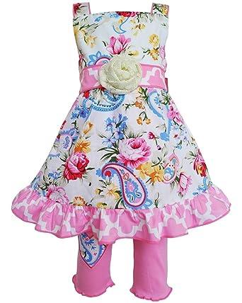 1ff9e8bdd AnnLoren Girls 6/6X Spring Pastel Paisley Floral Dress & Capri Clothing  Pinks