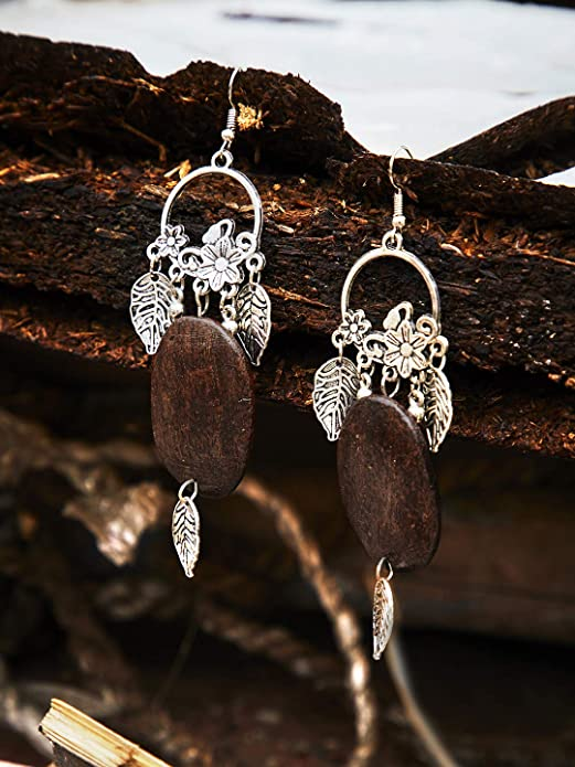 Zerokaata/Fashion Jewellery Floral Designer Tribal Jewellery Danglers With Hanging Leaves For Women /& Girls