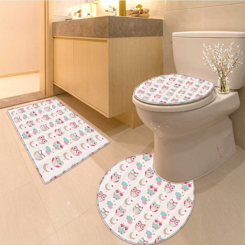 3 Piece Anti-slip mat set Pattern On Clouds With bows Sky After Toys Summer Artwork Non Slip Bathroom Rugs