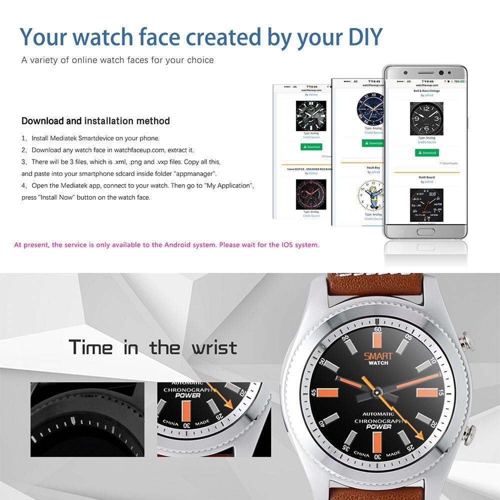 Kobwa Bluetooth Smart Watch,Round Touch Screen Smartwatch Fitness