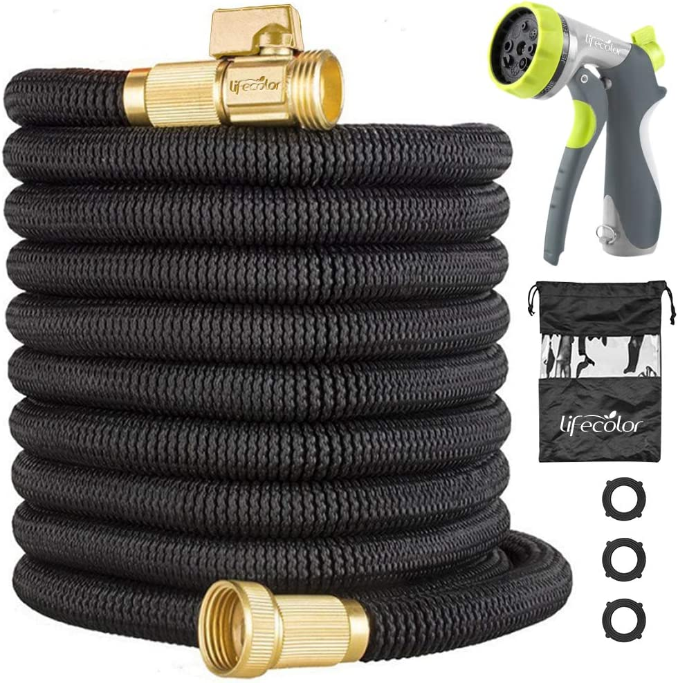 50FT Expandable Garden Hose, Lightweight Expanding Water Hose with Double Latex Core, 3/4 Solid Brass Connector and Extra Strength Fabric with 8 Zinc Function Nozzle