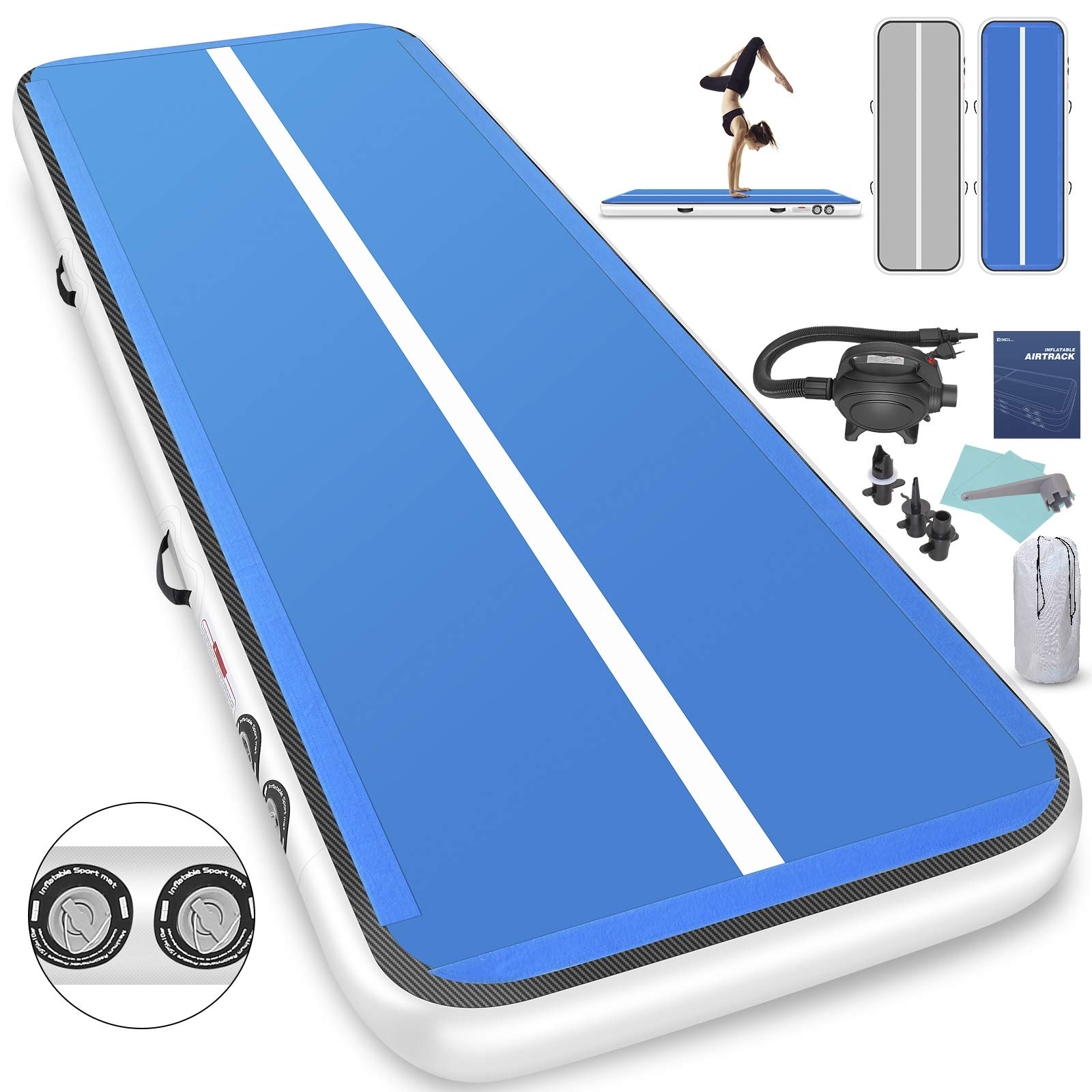 Furgle 10ft/13ft/16ft/20ft Inflatable Airtrack Gymnastics Tumbling Floor Mat,Tumble Track Air Mat,Home Use Air Tracks with Electric Air Pump for Kids/Gym/Training/Pool (10ftx3.3ftx6inch, Blue + Gray)
