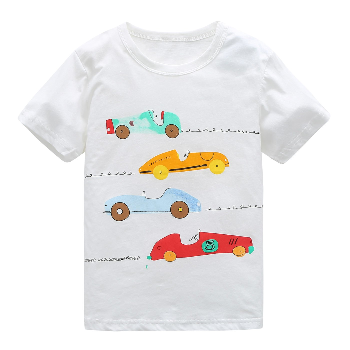 HowJoJo Big Boys Cotton Short Sleeve T-Shirts Summer Shirt Cars Graphic Tees White 7T