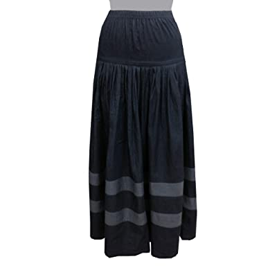 Baby'O Women's Original BIZ Style Striped Bottom Long Denim Skirt