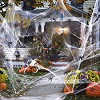GUAN Halloween White spinnennet, rekbaar spinnenweb met 100 stuks kleine spinnen genoeg om 1000 m² te bedekken…