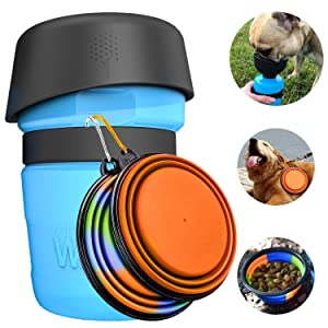 Dog Water Bottle Bowl,Upgraded 2 in 1 Portable Drinking Cup Dispenser for Pets with 2 Collapsible Bowls,Leakproof Pet Water Bottle Foldable Food Bowl for Dog Cat Outdoor Travel Walking 18oz BPA Free