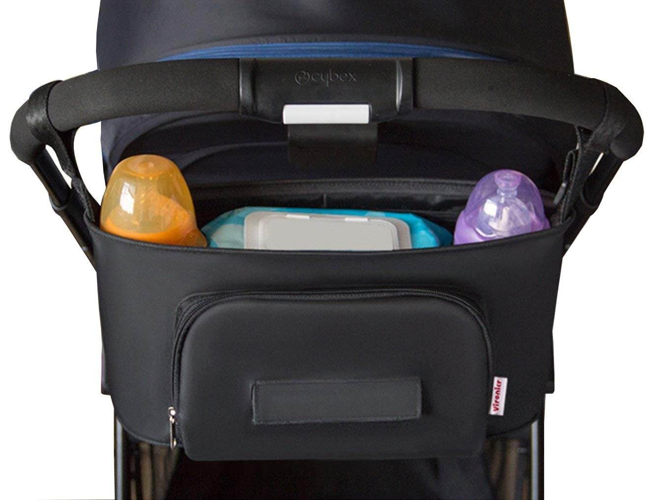 Stroller Organizer with Tissue Pocket Diaper Bag with Insulated Cup Holders - Universal Fit - Premium Quality - Baby Shower Gift Black