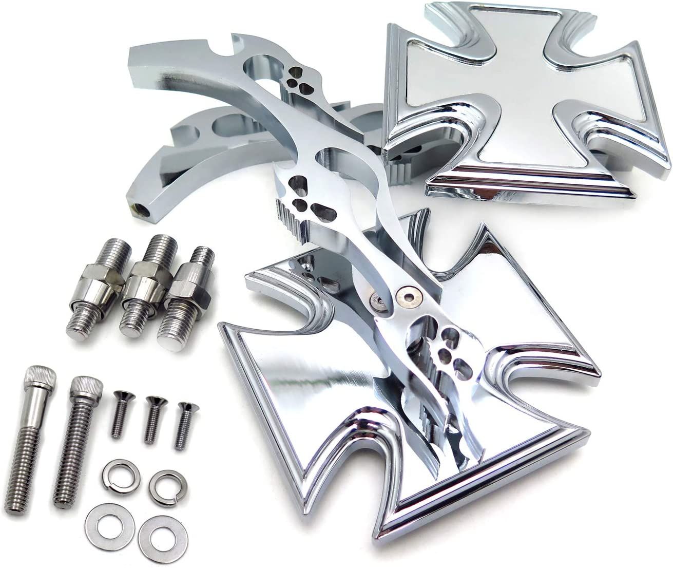 Chrome New Billet Custom Running Mirrors fit Harley Dyna Wide Glide Flame Style