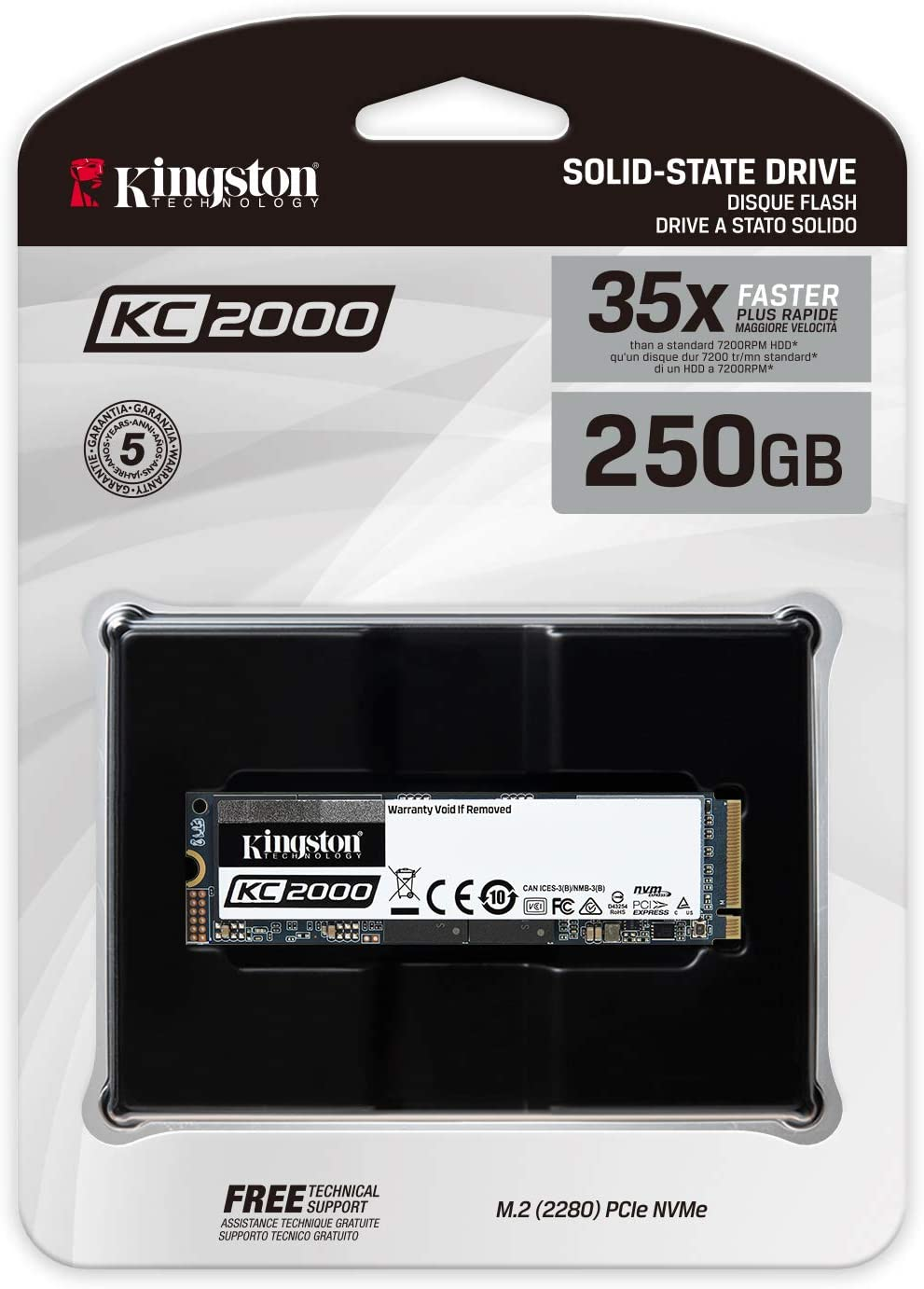 Kingston KC2000 (SKC2000M8/250 G) M.2 2280 NVMe SSD 250 G ...