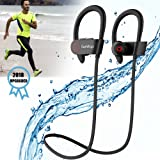 Running Headphones, Best Sports Wireless Bluetooth Earbuds with Mic IPX7 Waterproof Sweatproof Workout Noise Cancelling